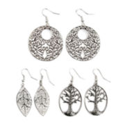 Arizona Leaf Life Tree Drop 3-pr. Earring Set