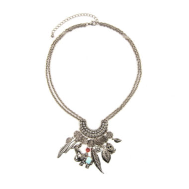 jcpenney.com | Arizona Silver-Tone Feather & Owl Charm Necklace
