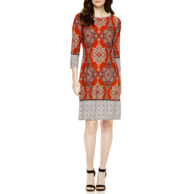 Times Women's Casual Dress One World Geo 3/4 Sleeve Shift SKU ...
