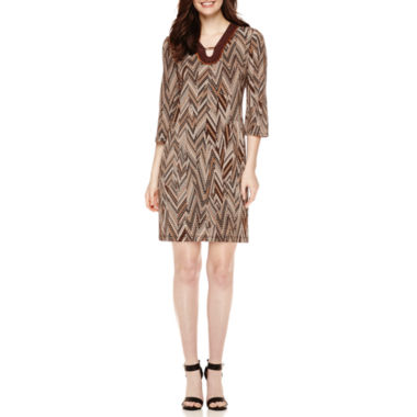 jcpenney.com | Studio 1® 3/4-Sleeve Bar-Neck Chevron Printed Shift Dress