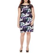Signature by Sangria Cap-Sleeve Floral Lace Sheath Dress - Plus