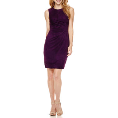 jcpenney.com | London Style Sleeveless Faux-Suede Pleated-Front Sheath Dress - Petite