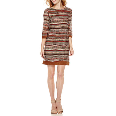 Studio1® 3/4-Sleeve Novelty Suede-Trim Knit Shift Dress - Petite