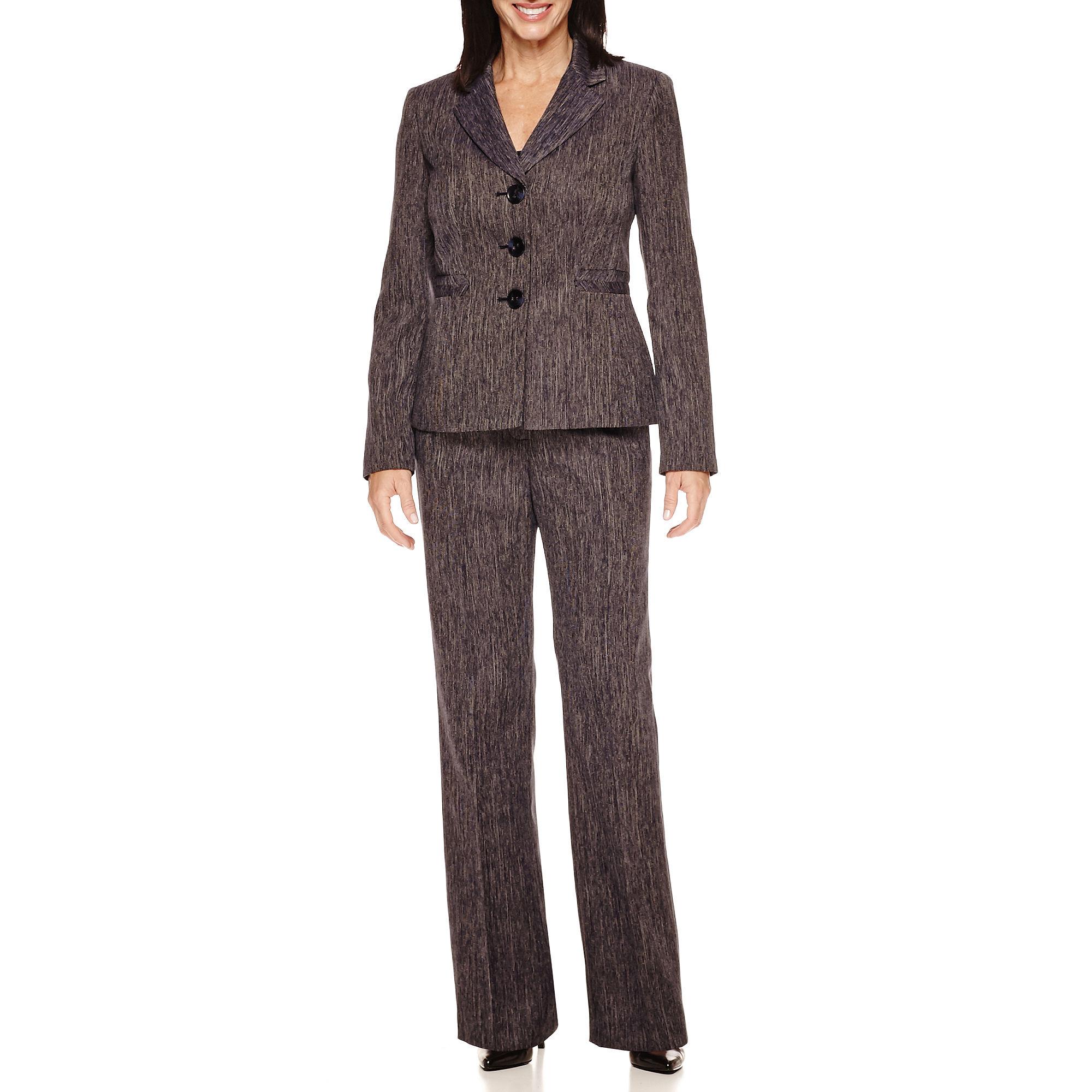 Le Suit 2-pc. Mini Herringbone Jacket and Pant Suit plus size,  plus size fashion plus size appare