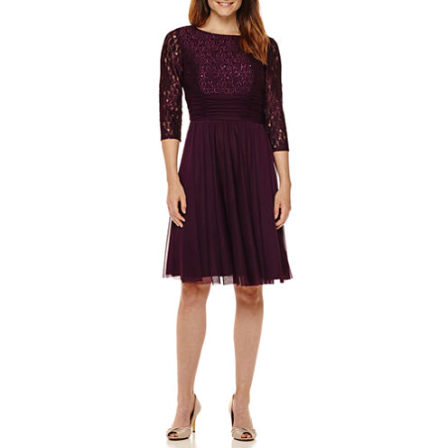 La Nouvelle Renaissance 3/4-Sleeve Lace-Bodice Fit-and-Flare Dress