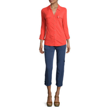 jcpenney.com | Liz Claiborne® Long-Sleeve Button-Front Shirt or Cargo Cropped Pants