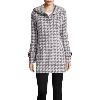 jcpenney.com | Details Hooded Placket Front Faux-Wool Overcoat