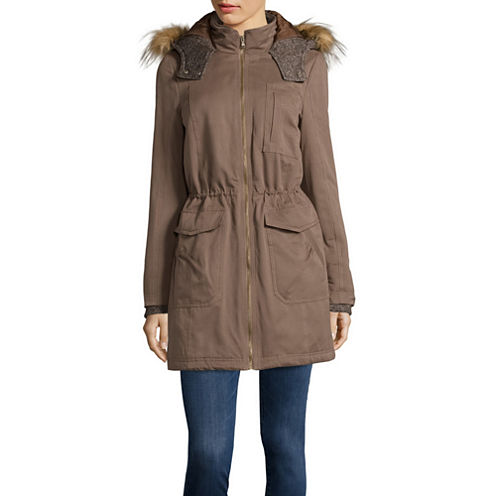 a.n.a® Faux-Fur-Trim Knitted Anorak