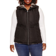 KC Collections Quilted Vest with Fur Lining - Plus
