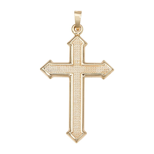 14K Yellow Gold Large Beaded Passion Cross Charm Pendant