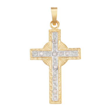 jcpenney.com | 14K Two-Tone Gold Diamond Cross Charm Pendant