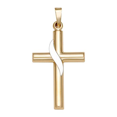 14K Two-Tone Gold Ribbon Cross Charm Pendant