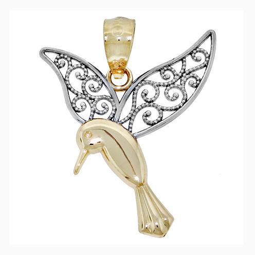 14K Two-Tone Gold Filigree Humming Bird Charm Pendant