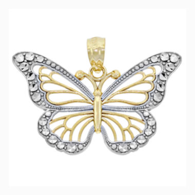 jcpenney.com | 14K Two-Tone Gold Diamond-Cut Butterfly Charm Pendant