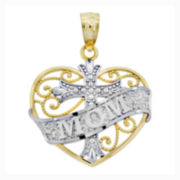 "14K Two-Tone Gold Filigree ""Mom"" Heart With Cross Charm Pendant"