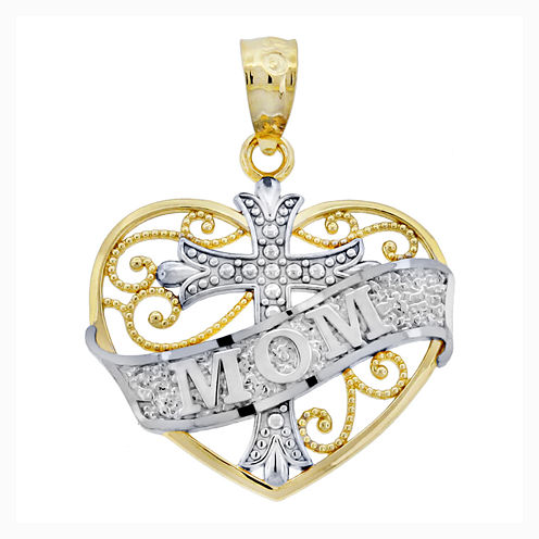 """14K Two-Tone Gold Filigree """"Mom"""" Heart With Cross Charm Pendant"""