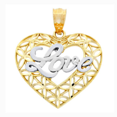 jcpenney.com | 14K Two-Tone Gold Diamond-Cut Love Heart Charm Pendant