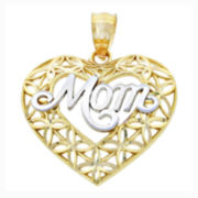 "14K Two-Tone Gold Diamond-Cut ""Mom"" Heart Charm Pendant"