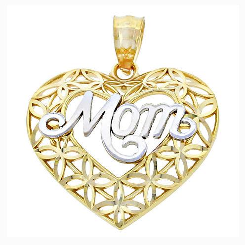 "14K Two-Tone Gold Diamond-Cut ""Mom"" Heart Charm Pendant"