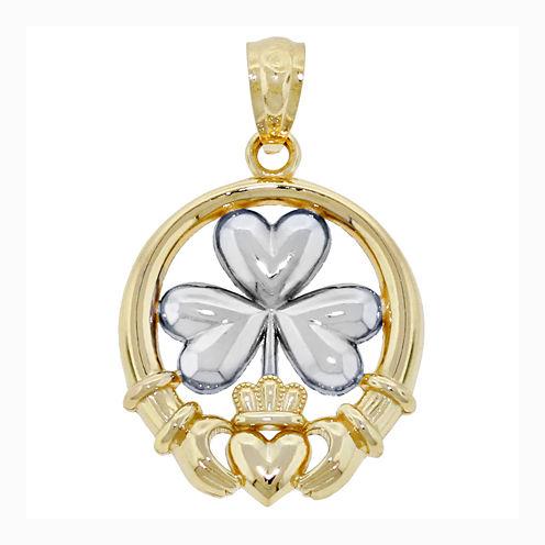 14K Two-Tone Gold Shamrock Claddagh Charm Pendant
