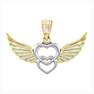 jcpenney.com | 14K Two-Tone Gold Double Heart With Wings Charm Pendant