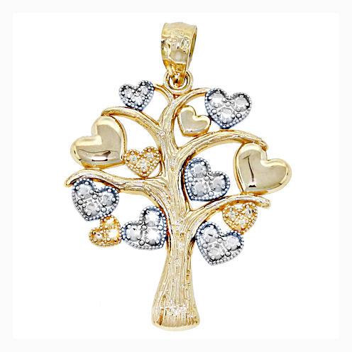 14K Two-Tone Gold Family Heart Tree Charm Pendant