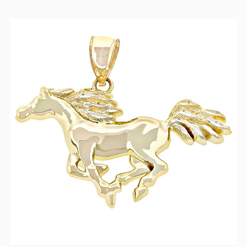 14K Yellow Gold Running Horse Charm Pendant