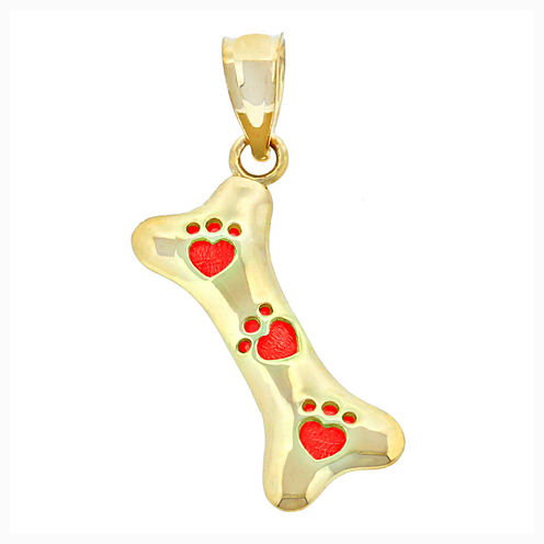 14K Yellow Gold Paw Print Bone Charm Pendant