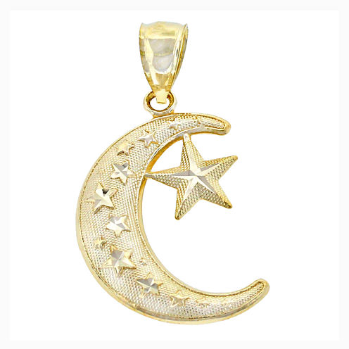 14K Yellow Gold Moon & Star Charm Pendant