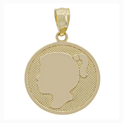 14K Yellow Gold Girl Silhouette Charm Pendant