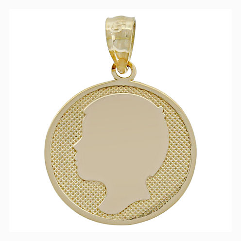 14K Yellow Gold Boy Silhouette Charm Pendant