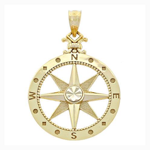14K Yellow Gold Polished Diamond-Cut Compass Charm Pendant