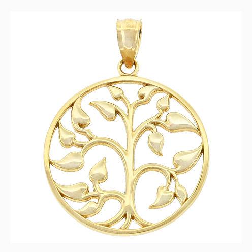14K Yellow Gold Tree of Life Charm Pendant