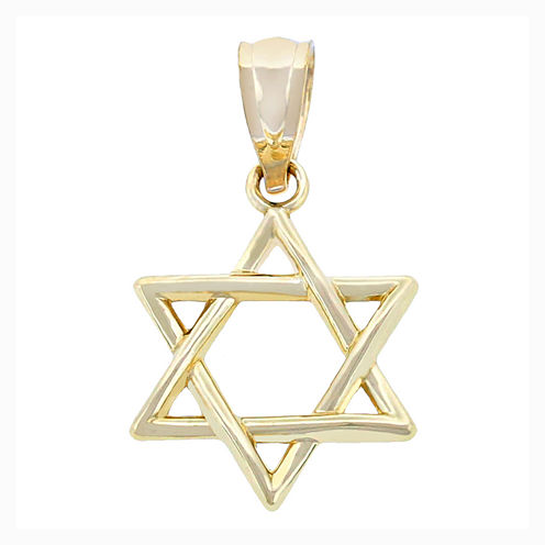 Religious Jewelry 14K Yellow Gold Star Of David Charm Pendant