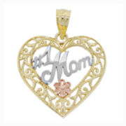 "14K Tri-Color Gold Filigree ""#1 Mom"" Heart Charm Pendant"