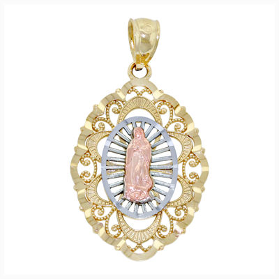 Religious Jewelry 14K TriColor Gold Filigree Guadalupe Charm