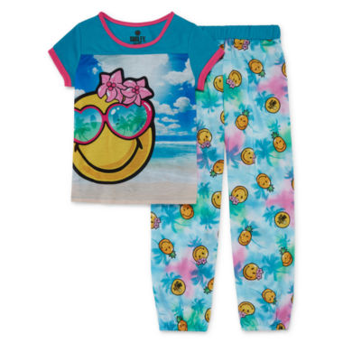 jcpenney.com | Smiley 2-pc. Short-Sleeve Sleep Shirt and Pants Set - Girls
