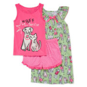 BFF Selfie 3-pc. Sleepwear Set - Girls