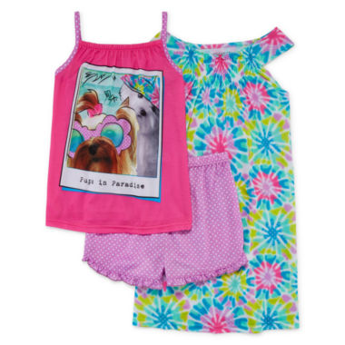 jcpenney.com | Komar Kids 3-pc. Pugs in Paradise Pajama Set - Girls 7-16