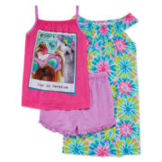 Komar Kids 3-pc. Pugs in Paradise Pajama Set - Girls 7-16