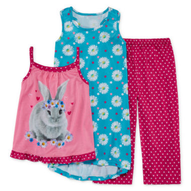 jcpenney.com | Komar Kids 3-pc. Love Bunny Pajama Set - Girls 7-16