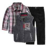 3-pc. Sherpa Vest, Shirt and Corduroy Pants Set - Toddler Boys 2t-4t