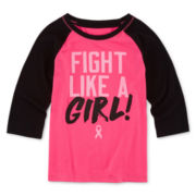 Xersion™ 3/4-Sleeve X Breast Cancer Raglan Tee - Preschool Girls 4-6x