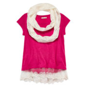 One Step Up® Short-Sleeve Tee with Scarf - Girls 7-16