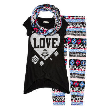 jcpenney.com | One Step Up® 3-pc. Top, Leggings and Scarf Set - Girls 7-12