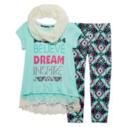 One Step Up® 3-pc. Tee, Leggings and Scarf Set - Girls 7-16