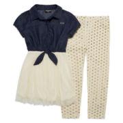 XOXO® 2-pc. Short-Sleeve Tie-Front Dress and Leggings Set - Girls 7-12
