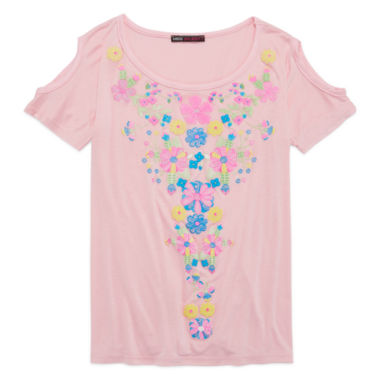 jcpenney.com | Miss Majesty Short-Sleeve Cold-Shoulder Graphic Tee - Girls 7-16