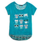 Miss Majesty Short-Sleeve Top with Back Print Inset - Girls 7-16