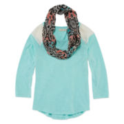 One Step Up® Long-Sleeve Tee with Printed Scarf - Girls 7-16